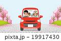 家族 ドライブ 桜並木のイラスト 19917430