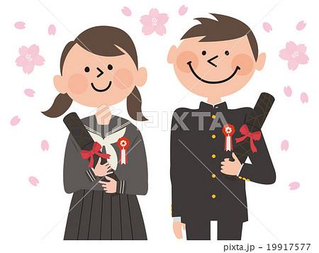 卒業する男女学生上半身_セーラー服と学ラン 19917577