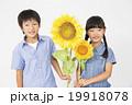 ポートレート ひまわりと小学生男女2人 19918078