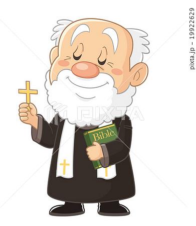 十字架を手に持つ神父・司祭・牧師のコミカルでかわいい人物イラスト | いわたまさよし 19922629