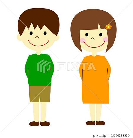 男の子と女の子 立ち姿のイラスト素材