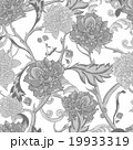 Monochrome seamless pattern with blooming peony 19933319