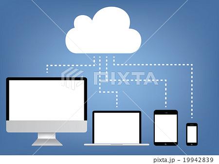 Cloud computing - laptop, tablet ,mobile vector 19942839