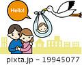 赤ちゃんをカップルに届けるコウノトリ 19945077