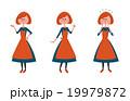 エプロン姿の女性 全身 表情バリエーション 19979872