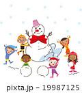 雪と遊ぶ子供 19987125