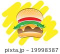 ハンバーガー ファストフード 軽食のイラスト 19998387