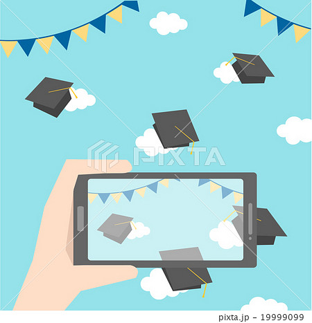 celebrations of graduation with smartphone