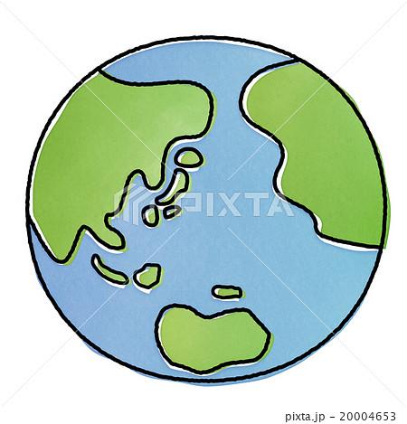 優しい雰囲気の手書き風地球のイラストカット素材 エコロジー環境