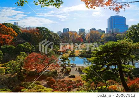 六義園の紅葉と湖面に映える景観 20007912
