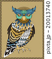 梟 鳥 細密のイラスト 20013740