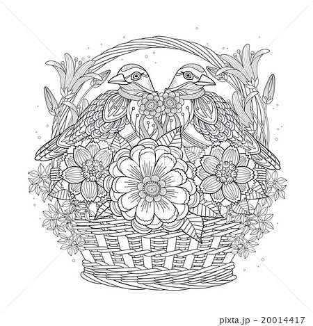 鳥 花 ぬりえのイラスト素材 20014417 Pixta
