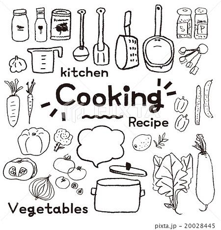 鉛筆で描いたようなキッチンツールと野菜セット 20028445