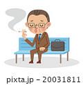 ベンチに座ってたばこを吸う中年のビジネスマン 20031811