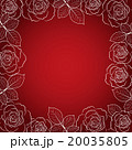 Simple floral frame in white on red background. 20035805
