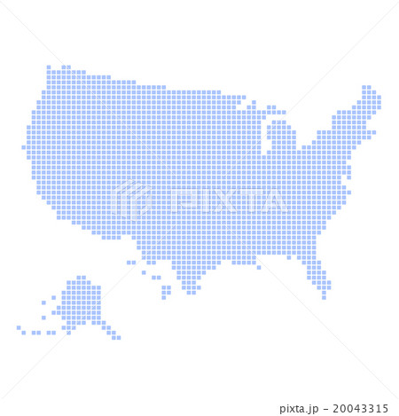 Blue Dotted USA Map on White Background. Vectorのイラスト素材 [20043315] - PIXTA