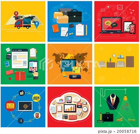 Business Online, Social Media, Delivery Conceptのイラスト素材 [20058716] - PIXTA