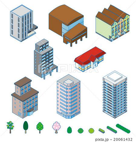 様々な建物 立体図のイラスト素材 20061432 Pixta