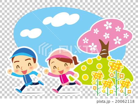 春 仲良くジョギング カップル 20062118