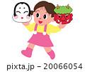節分で鬼とお多福のお面を持つ女の子 20066054