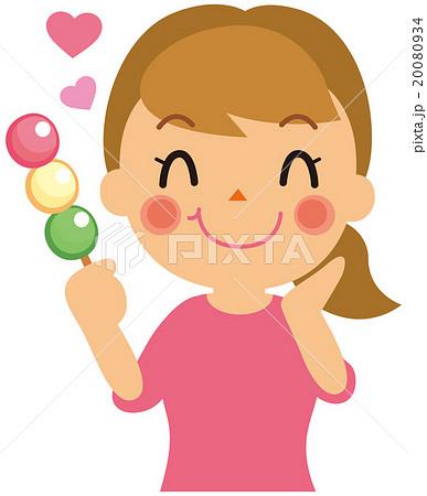 お団子を食べる女性のイラスト素材 20080934 Pixta
