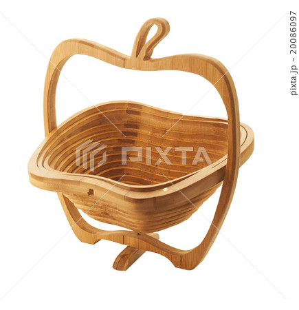 woody  basket in apple form isolated on white の写真素材 [20086097] - PIXTA