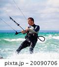 Kitesurfer in Black Sea, Crimea 20090706