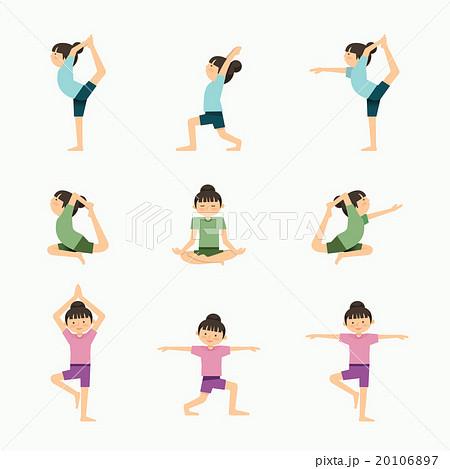 vector yoga set illustration girl yoga exercises のイラスト素材
