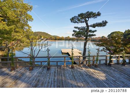 五大堂観月台から見た大沢池, 大覚寺、京都(超広角撮影) 20110788