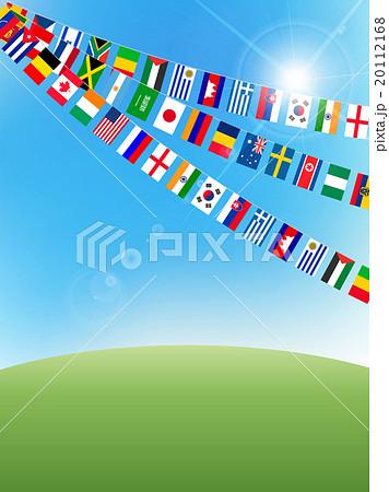 空 国旗 運動会 背景 のイラスト素材 20112168 Pixta