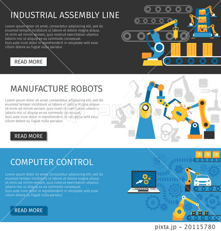 Industrial Assembly Line Flat Banners Set  20115780