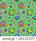 ポップでかわいい 宇宙(UFO・ロケット・惑星)柄シームレス(繋がる・繰り返し)パターン 緑色 20131527