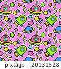 ポップでかわいい 宇宙(UFO・ロケット・惑星)柄シームレス(繋がる・繰り返し)パターン ピンク 20131528