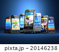 Choose mobile phone. Row of t smartphones on blue  20146238