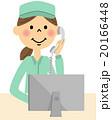 作業服の女性(上半身) パソコンと電話 20166448