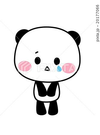 ポップでかわいいパンダのキャラクターイラスト素材 泣く悲しい 背景