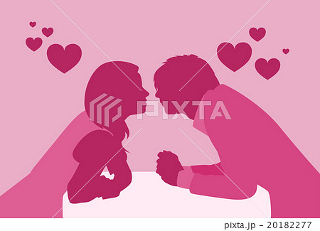 Couple Sitting Cafe Table Kiss Romantic Date Pink 20182277