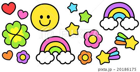 ポップでカラフルかわいい スマイル虹流れ星四葉の