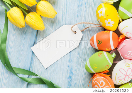 Easter eggs, tulips and blank tag 20205529