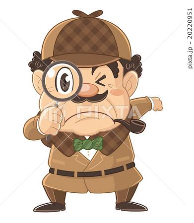 虫眼鏡でのぞく探偵のコミカルでかわいい人物イラスト | いわたまさよし 20220951
