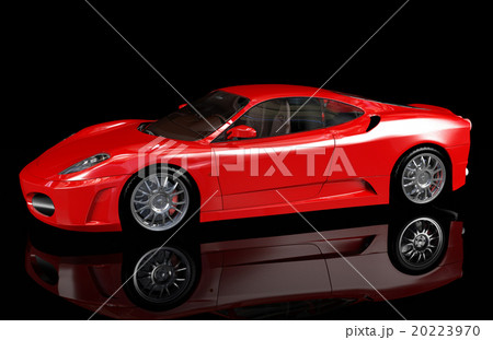 Red sport car on dark background, side view 20223970