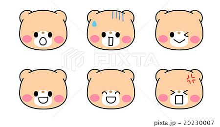 ポップでかわいいくまのキャラクター 色んな表情のイラスト素材・アイコンセット 透過png・白背景