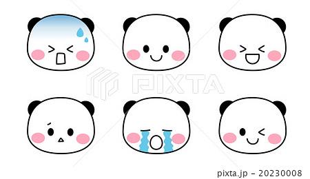 ポップでかわいいパンダのキャラクター 色んな表情のイラスト素材