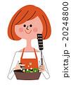 フライパンで炒め物をつくる女性 20248800