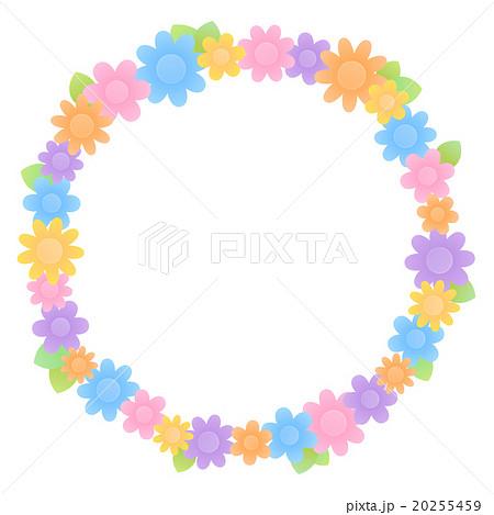 シンプルでかわいい お花が沢山のカラフルな丸型フレーム 背景透過png