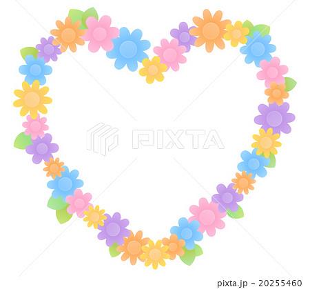 シンプルでかわいい お花が沢山のカラフルなハート型フレーム 背景透過
