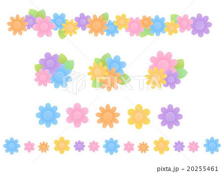 シンプルでかわいい カラフルなお花のラインアイコンイラスト セット
