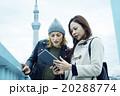 海外の友人と遊園地で楽しむ女性 20288774