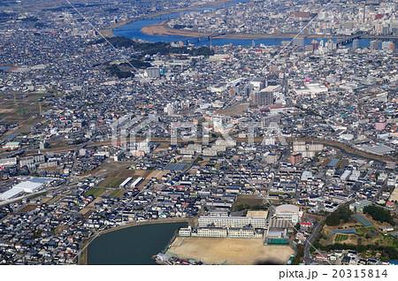 宮崎市の上空からの空撮の写真素...