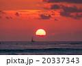 【ハワイ】ワイキキビーチからから眺める夕暮れ 20337343